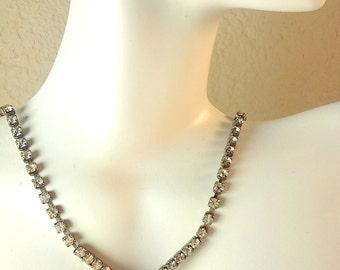 Vintage 1950's Rhinestone V Silver Choker Necklace