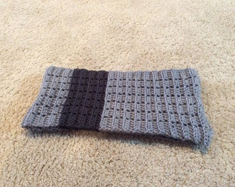 Two Tone Gray Crocheted Scarf