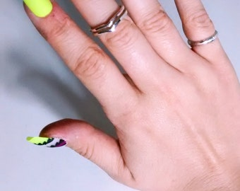 Matte Neon Aztec Inspired Press On Nails - Purple and Yellow False Nails - Trendy Vacation Fake Nails - made to order with gift wrap