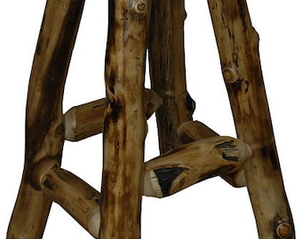 Rustic Aspen Log Bar Stool - Stationary - No Arms - 24 inch OR 30 inch - Bar Pub Furniture - Handmade - Custom - Amish Made in USA