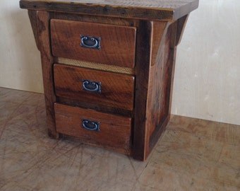 Rustic Reclaimed Barn Wood Furniture - 3 Drawer Night Stand / End Table - Handmade - Custom - Amish Made in USA