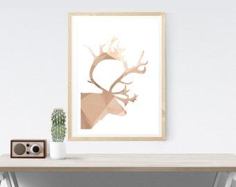Reindeer poster art   Etsy