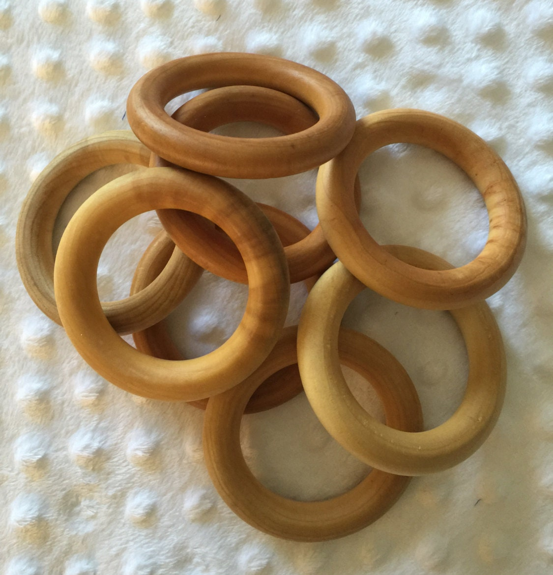 Five 5 3 natural wooden toss craft rings sealed or for Wooden rings for crafts