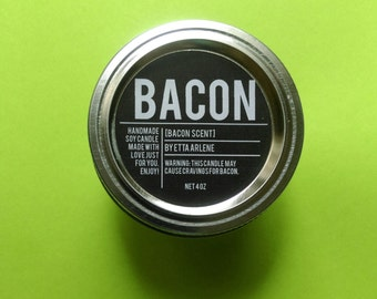 Bacon Candle - Scented Soy Candle - Food Candle - Gift for Bacon Lovers -By Etta Arlene Candles