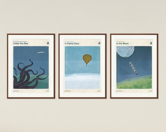 Jules Verne - Extraordinary Voyages   Set of Literary Book Cover Prints Large, Minimalist Poster, Kids Room Decor, Instant Download
