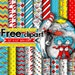 50% OFF SALE Cat in the Hat, Dr Suess Digital Paper, Papers Scrapbook