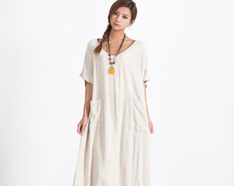 Women's linen maxi dress linen kaftan cotton caftan oversize bridesmaid dress large size dress plus size clothing Custom_made clothing A83