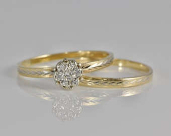 Vintage Wedding Set; 7 Diamond Cluster Engagement Ring with Matching Pattern Wedding Band, 14K Yellow Gold with White Gold Accents LB264