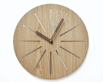 Industrial wall clock | Modern wooden clock |  Geometric clock | Laser cut wall clock | Veneer wall clock | Decorative clock