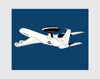 Airplane Art Print, 8x10 PRINTABLE, AWACS, Boeing E-3 Sentry, Instant Download, Digital