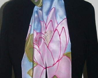 Silk Scarf Handpainted. Sky Blue, Pink Hand Painted Shawl. Handmade Silk Wrap WATER LILIES. Size 8x54. Birthday, Mother Gift. Gift-Wrapped