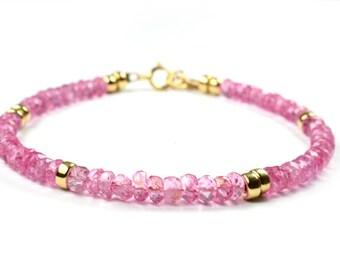 Gemstone Bracelet Gemstone Jewelry Pink Topaz Jewellery Cyclamen Pink Gem Bright Pink Topaz Gift For Wife Gift For Her Birthday Gift