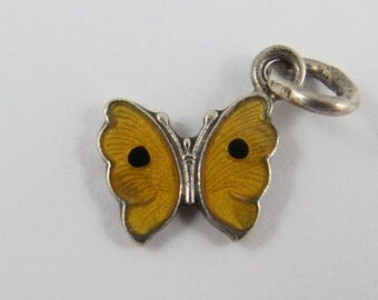 Butterfly With Yellow & Black Enamel Sterling Silver Vintage Charm For Bracelet