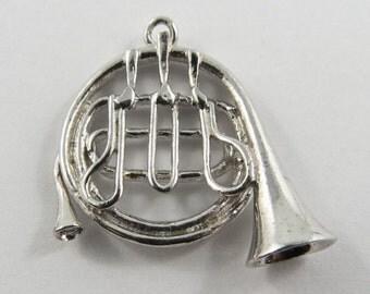 French Horn Sterling Silver Vintage Charm For Bracelet