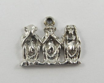 Three Wise Monkeys-See No Evil, Speak No Evil, Hear No Evil Sterling Silver Vintage Charm For Bracelet