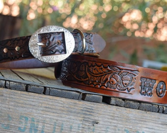 Leather Dog Collar Silver Plated Buckle ( Western dog collar ~ tooled collar ~ personalized vintage 1950s name on belt ) The Diamond Dogs