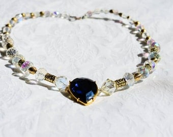 Pear Shaped Deep Blue Crystal Necklace