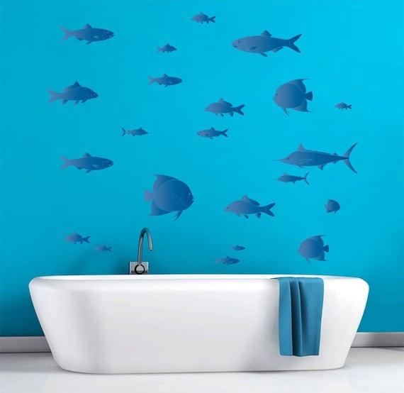 Tropical Bathroom Wall Decor: Collection Of Tropical Fish Bathroom Décor Wall Decal