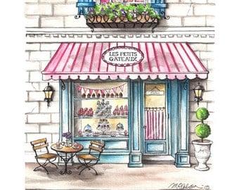 Les Petits Gâteaux Bakery Watercolor Print, French Bakery, Patisserie, Paris Cafe, 5x7, 8x10, 11x14, 13x19, Watercolor Painting, Art, Decor