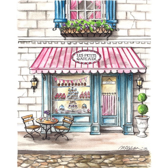 Les Petits G 226 Teaux Bakery Watercolor Print French Bakery