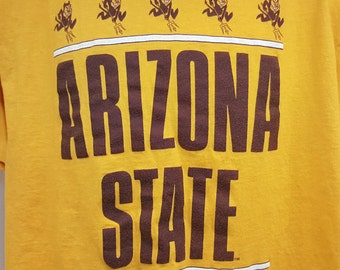 Vintage 80's Arizona State Sun Devils Hanes 100% Cotton Graphic T Shirt