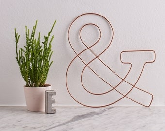 Wire Ampersand, Copper Home Decor, Wire Wall Hanging, Gift for him, Wire wall art, Industrial home decor, gift for her, shelfie decor