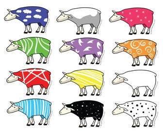 sheep stickers (12) - sheep sticker - sheep - red - blue - green - orange - black sheep stickers - black sheep sticker - sheep sticker