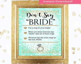 Teal Blue Bridal Shower Game Sign Download - DON'T SAY BRIDE - Mint Green Instant Printable Digital Download - diy Bridal Shower Printables