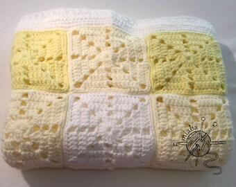 Yellow gingham baby blanket