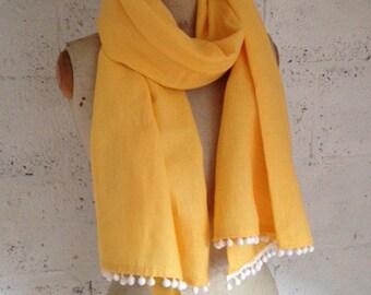 SALE - Yellow 100% Linen 'Bermuda' Scarf with white pom pom trim
