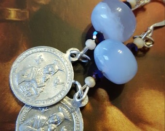 Sentiments of Blessings Vintage Religious Medal and Chalcedony Earrings by Jack and Diddly.