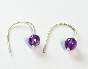 Faceted amethyst earrings, Argentium sterling silver non slip earwires