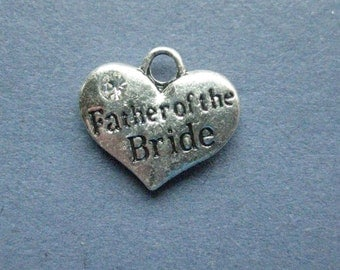 5 Father of the Bride Charms - Father of the Bride Pendants -  Father of the Bride Carved Charm - Antique Silver - 16mm x 14mm -- (C5-11153)