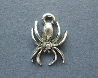 10 Spider Charms - Spider Pendants - Spider - Spiders - Bug Charm - Antique Silver - 18mm x 14mm  --(No.137-11090)