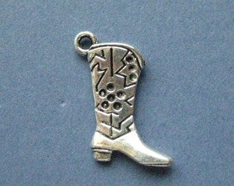 10 Cowboy Boot Charms - Cowboy Boot Pendants - Boot Charm - Boots -  Cowboy Charm - Antique Silver - 22mm x 14mm --(No.H6-10377)