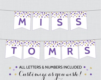 Printable Banner with ALL Letters and Numbers - Purple and Gold Bridal Shower Decorations - Purple and Gold Bridal Shower Banner 0001-R