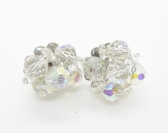 Laguna Aurora Borealis Glass Crystal Vintage Earrings Clip One