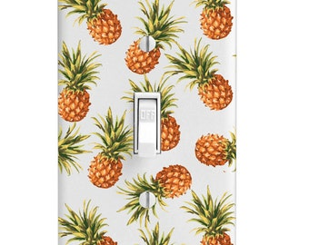 Pineapple Pattern Tropical, Printed Light Switch Cover, Bedroom Decor, Lightswitch, outlet, Wall Decor, Home Decor, Kitchen Decor, Lighting