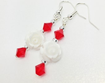 White Rose Earrings Red Crystal Earrings Red Wedding Jewelry Bridesmaid Gift Flower Girl Gift Mother of the Bride Red Swarovski Crystal