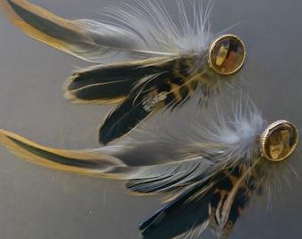 Real feather hair pins, hippie hair pin, feathers for hair, feather hair piece, feather bobby pin, steampunk hair pin