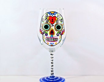 Halloween Wine Glass, Sugar Skulls, Sugar Skull, Day of the Dead, Dia De Los Muertos, Hand Painted Wine Glass, Personalized Glass, Skull Art