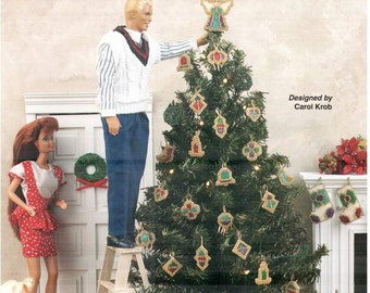 Beaded Christmas Tree Plastic canvas Fashion Doll Barbie dollhouse furniture patterns by Annie's Attic 870932.