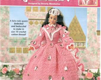 Rose Queen, dress pattern fits Barbie dolls. Designs by Beverly Mewhorter, Annie's Attic fashion doll thread crochet pattern 871619.