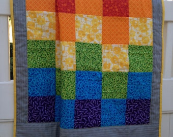Colorful Rainbow Lap Quilt - Handmade