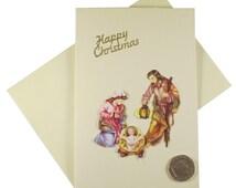 Nativity Scene Card, Christmas Card, Religious Christmas Card, Happy Christmas Card, Cream Xmas Card, Decoupage Card, Card for Older Person
