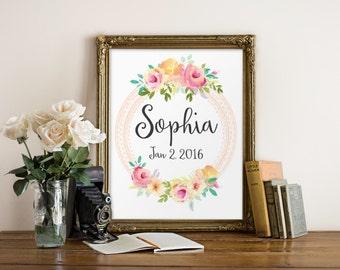 Personalized printable, Baby girl gift, Baby girl name sign, Baby name wall art, Name print, Nursery letters girl, Wall decor Name art BD862