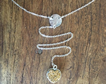 Sun heart Necklace - Sterling Silver Lariat Y Necklace with Yellow Druzy Pendant and Hammered Silver Disc