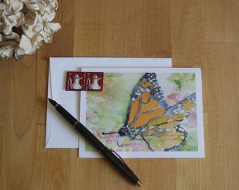 5 Blank Note Cards - Monarch Butterfly - Greeting Cards, Thank You cards, Birthday cards, Invitations, Teacher Gift, Summer, 1st Anniversary