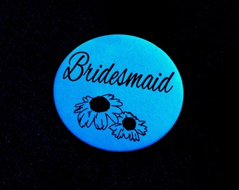Bridal Party Pinback Button (2 Flowers)
