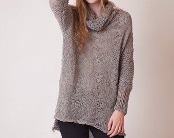 Gray Turtleneck Sweater Loose Fitting Turtleneck Sweater